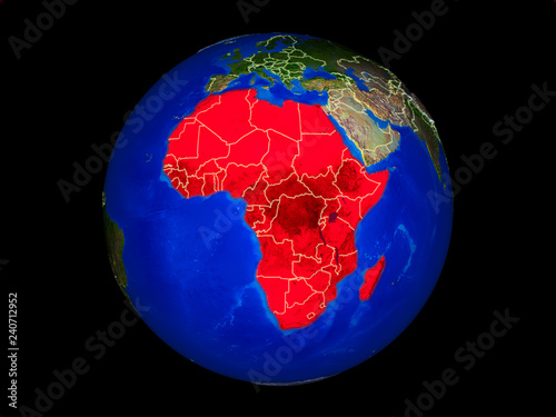 Africa on planet planet Earth with country borders. Extremely detailed planet surface.