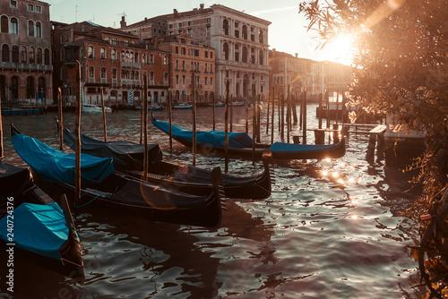 obraz PCV water street with Gondola in Venice, ITALY