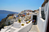 Santorini white houses in summer