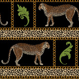 Baroque seamless pattern with leopard and gold chain. Fashion vintage ornament. Animal vector print - 240728944