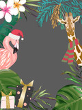 Christmas tropical frame. Card with palm tree, flamingo and giraffe. Vector illustration. Watercolor style - 240728947