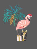 Tropical Christmas print with flamingo, palm tree and presents. Vector background - 240728964