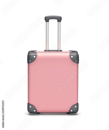 Pink travel suitcase isolated on white. Clipping path included