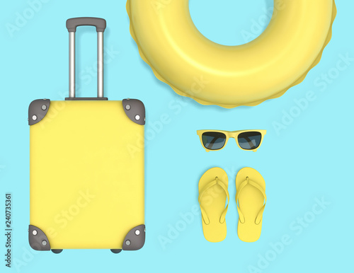 Yellow suitcase, swimming ring, sunglasses and flip flops. clipping path included
