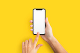 Mockup of female hand holding cell phone with blank screen - 240736156