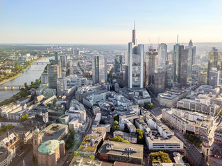 Main river, downtown and old town of Frankfurt, Germany