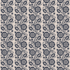 seamless vector pattern with vintage imprinted flowers. design for packaging, textile, interior, wallpaper © lenazol