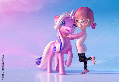 Cheerful smiling cute cartoon girl playing and hugging magical unicorn baby. Funny cartoon kid characters of a little kawaii girl and unicorn. Fairytale and dreaming concept. 3D render - 240748593