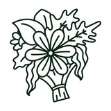 Line art illustration of a bouquet of flowers and plants