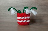 Martenitsa, red and white yarn strains, Bulgarian folklore tradition for spring in March. Symbol wish for good health. Baba Marta Day. Home decoration. Crochet vase, snowdrops as tassel.