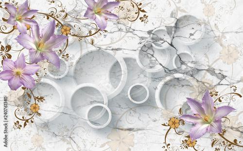 3D flowers on marble circular wallpaper, 3d rendering. - 240761340