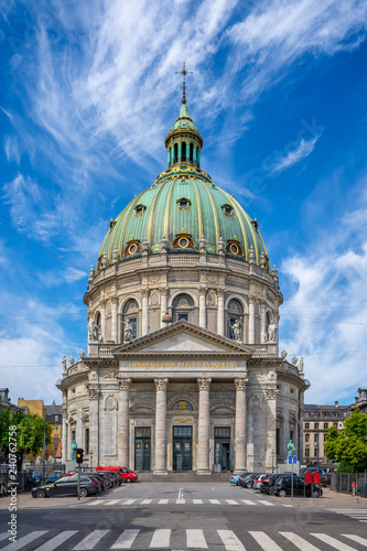The Marble Church (Frederik's Church) in Copenhagen, Denmark. The church lies in line with Amalienborg castle and the Opera in the middle of the elegant area of Frederiksstaden.
