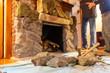 Decorating fireplace with rocks old vintage design