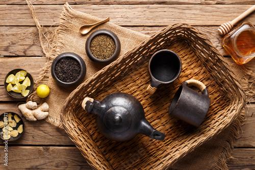 Herbal Tea Ingredients - Tea Leaves, Honey, Ginger, Lemon and Mint Leaves