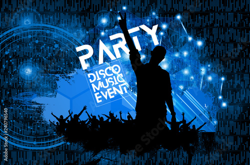 Silhouette of a party crowd - vector illustration - 240796540