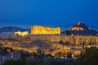 View on Acropolis at night, Athens, Greece