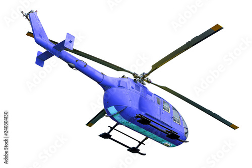 Blue helicopter taking off on white background, isolated.