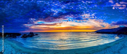 Blue Sunset at Evening Over Beach - 240805728