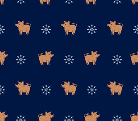 Seamless pattern of yellow brown pigs boars. Flat vector graphics for design. © difinbeker