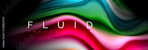 Abstract liquid colorful banner. Trendy wavy dynamic design. Fluid color shapes. - 240820764