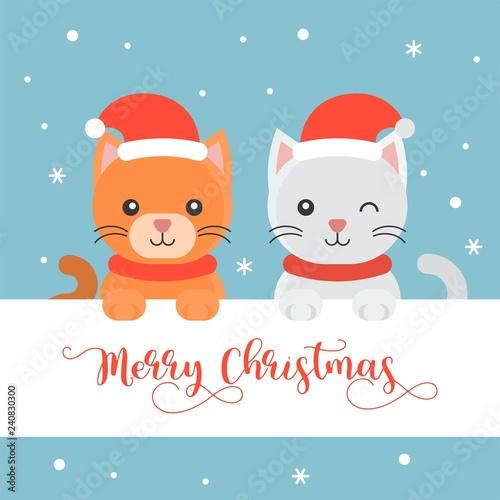 cute kittens flat design merry christmas poster - 240830300