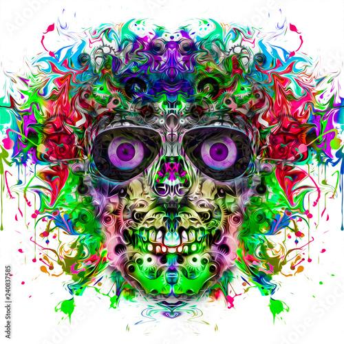 Череп на цветном творческом таинственном фоне - 240837585