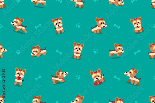 obraz PCV Vector cartoon character yorkshire terrier dog seamless pattern for design.