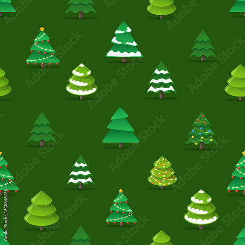 obraz PCV Christmas trees seamless pattern vector illustration
