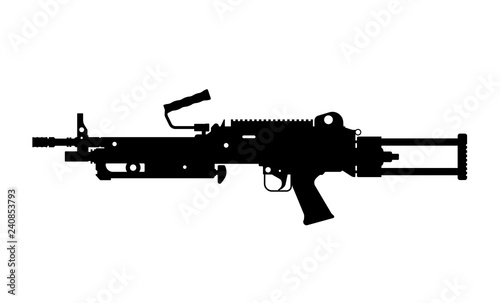 Black silhouette of machine gun on white background. Automatic weapon of  army. Isolated image. Military ammunition © shaineast