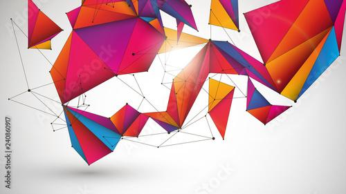3d sieć abstrakcyjne tło wektor - 240860917