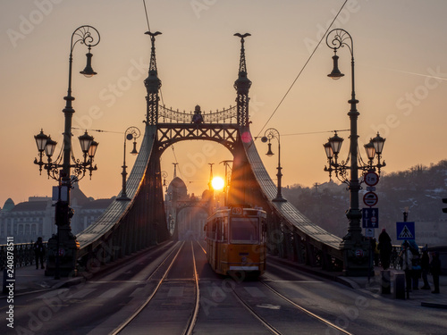 mata magnetyczna Coucher de soleil sur pont de budapest