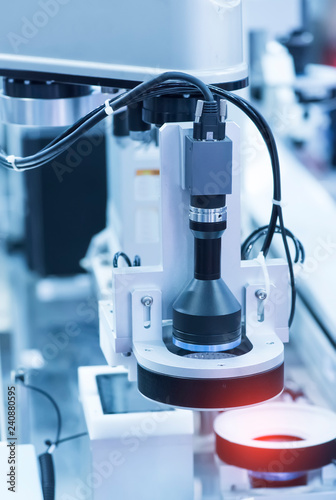 Leinwanddruck Bild smart robot in manufacturing industry for industry 4.0 and technology concept. Robotic vision sensor camera system in intellegence factory