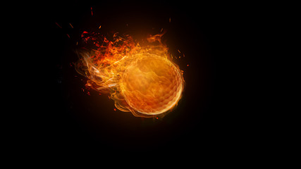 Golf ball on Fire Burning, motion Blur. sport, game, speed concept