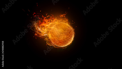 Leinwanddruck Bild Golf ball on Fire Burning, motion Blur. sport, game, speed concept
