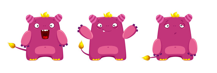 vector set of cute character cartoon pink creature with a pink spot on the belly © Mosaic