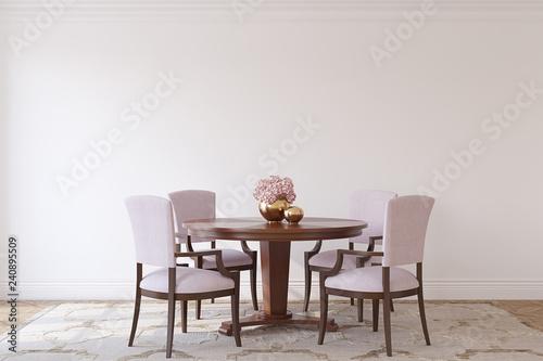 Leinwanddruck Bild Dining-room interior.3d render.