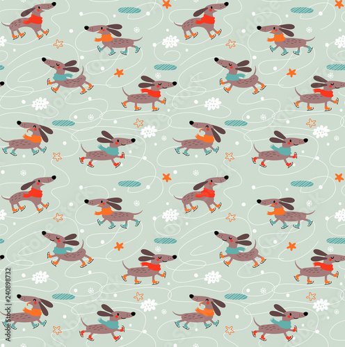 obraz PCV Dachshunds Dogs. Seamless pattern.