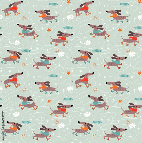obraz lub plakat Dachshunds Dogs. Seamless pattern.