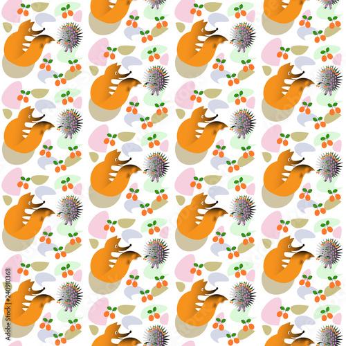 obraz lub plakat Seamless pattern fox and hedgehog on white background - vector illustration.