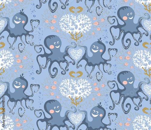 obraz lub plakat Vector seamless pattern of sea life, cute octopuses and corals on the blue background