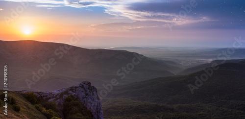 panorama sunset in mountains