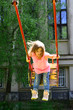 Leinwanddruck Bild - Playground in park. Small kid playing in summer. childhood daydream .teen freedom. Happy laughing child girl on swing. romantic little girl on the swing, sweet dreams. Wow. Happy moments
