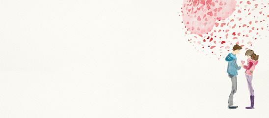 Romantic date. Watercolor illustration. Love concept © pronoia