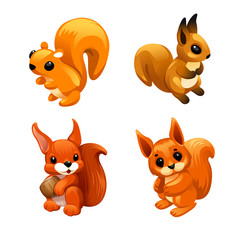 vector set of squirrel with large ears holding a nut, another squirrel with big sad eyes and two squirrels © Mosaic