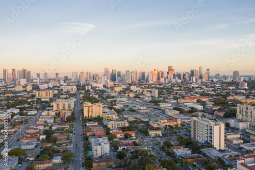 Aerial west side of Downtown Miami Florida Little Havana