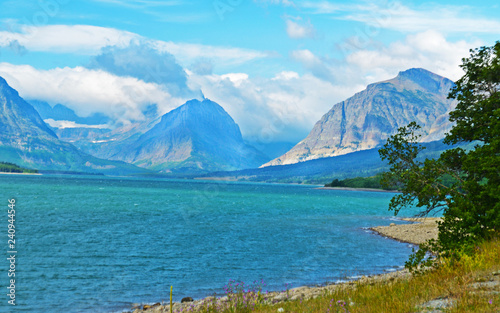 Scenic Looking at a clear blue lake in Glacier National Park. - 240944546