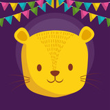 cute tiger character icon
