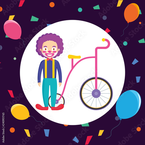 circus clown with tricycle