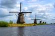 Leinwanddruck Bild - Dutch mills in Kinderdijk, South Holland