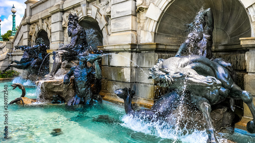 Bronze Neptune Fountain in Washington DC